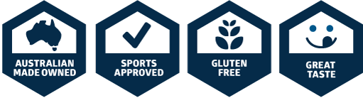 Australian Owned, Sports Approved, Gluten Free, Great Taste!