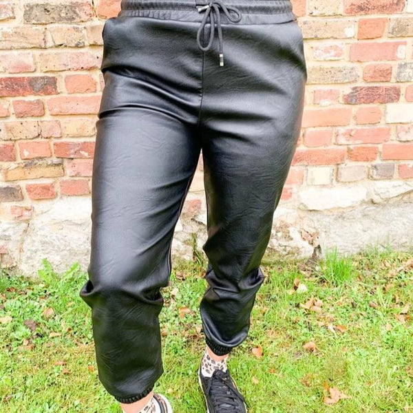 Reena Leather Look Joggers