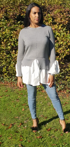 Womens Clothing - Sheree Grey Shirt Jumper