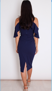 Womens Fashion - Cara Ruffle Blue Dress
