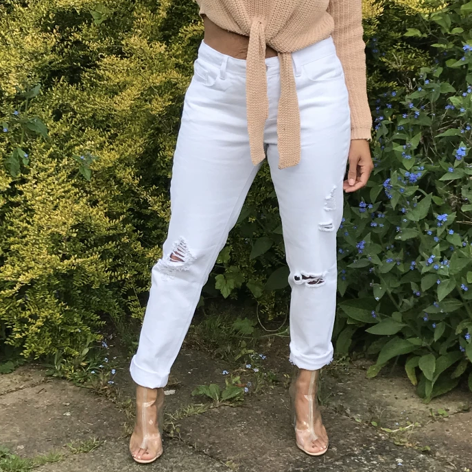 Womens White Ripped Jeans - Poppy White Jeans