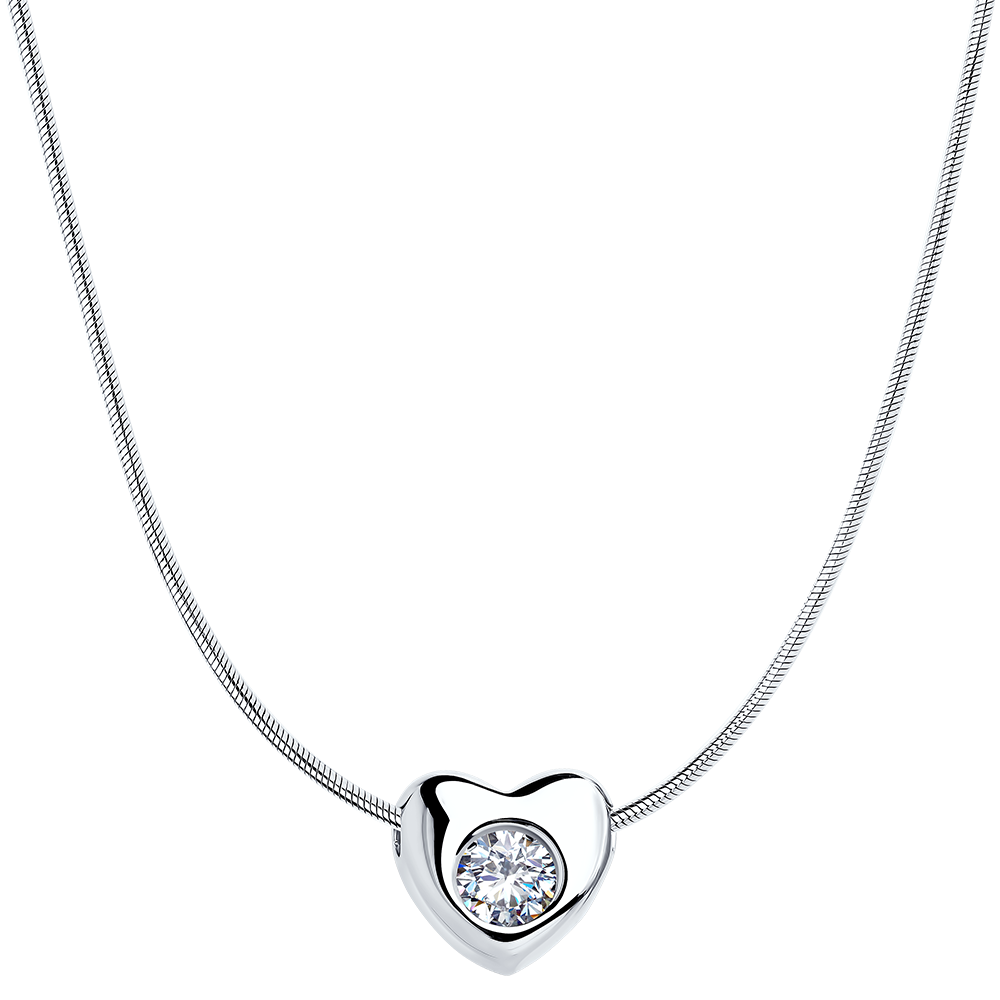 0e1f0819ffd Love Jewelry 45 925 Rhodium Plated Sterling Silver Heart Necklace w/Swarovski  Crystal ...