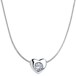 ec436a30f27 Love Jewelry 45 925 Rhodium Plated Sterling Silver Heart Necklace w/Swarovski  Crystal