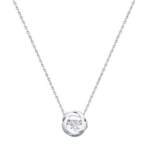 Paradis.Love Jewelry 45 925 Rhodium Plated Sterling Silver Heart Necklace w/Swarovski Crystal