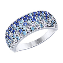 Paradis.Love Jewelry 6 1/2 925 Rhodium Plated Sterling Silver Ring w/Blue Cubic Zirconia Crystals