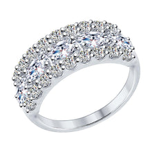Paradis.Love Jewelry 6 Sterling Silver Ring with Cubic Zirconia Crystals