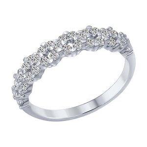 Paradis.Love Jewelry 6 925 Rhodium Plated Sterling Silver Ring w/Cubic Zirconia 0,91ct Crystals