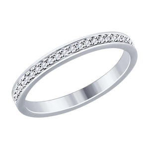 Paradis.Love Jewelry 6 Sterling Silver Wedding Ring with Swarovski Crystals