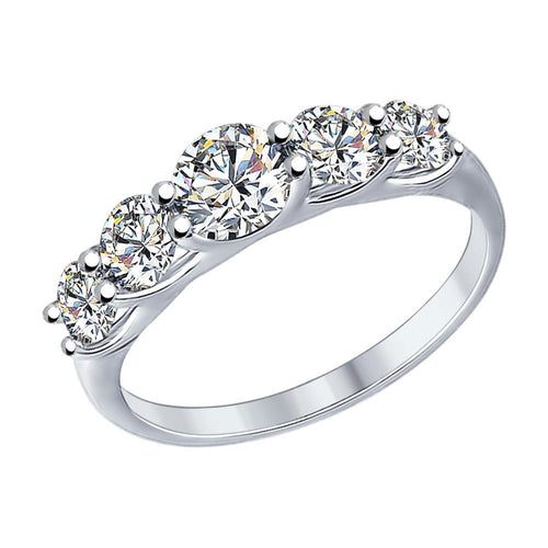 Paradis.Love Jewelry 6 925 Rhodium Plated Sterling Silver Ring with Swarovski Crystals