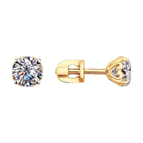 Paradis Love  Sterling Silver Gold Plated Stud Earrings w/t Swarovski Zirconia
