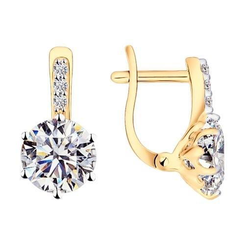 Paradis Love  Sterling Silver Gold Plated Sparkling Love Earings w/t Swarovski Zirconia