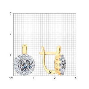 Paradis Love  Sterling Silver Gold Plated Round Halo Earrings w/t Swarovski Crystals