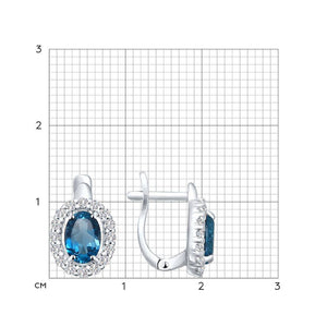 Paradis.Love Jewelry Sterling Silver Earrings with CZ and London Topaz Crystals