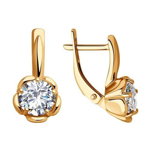 Paradis Love  Sterling Silver Gold Plated Flower Shaped Earrings w/t CZ