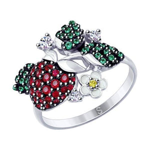 Paradis Love  Sterling Silver Strawberry Ring w/t Coloured CZ