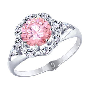 Paradis Love  Sterling Silver Amaryllis Ring w/t Cubic Zirconia in Soft Pink