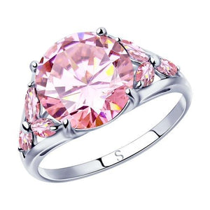 Paradis Love  Sterling Silver Pink Delight Ring w/t CZ