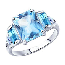 Paradis Love  Sterling Silver Carribean Blue Ring w/t CZ