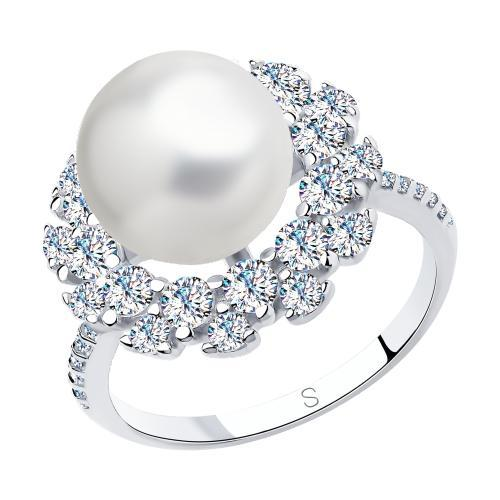 Paradis Love  Sterling Silver Mer D'Amour Cultured Pearl Ring w/t CZ