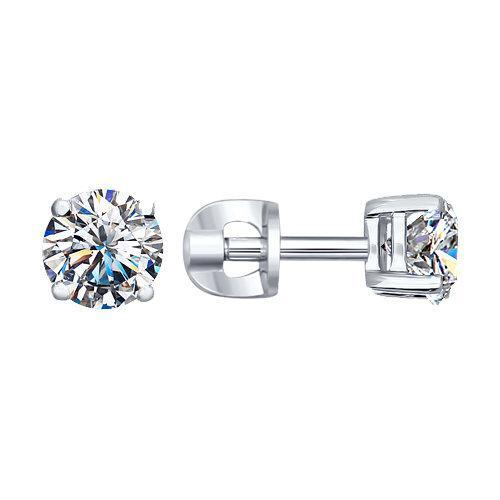 Paradis Love  Sterling Silver Stud Earrings w/ Swarovski Crystals
