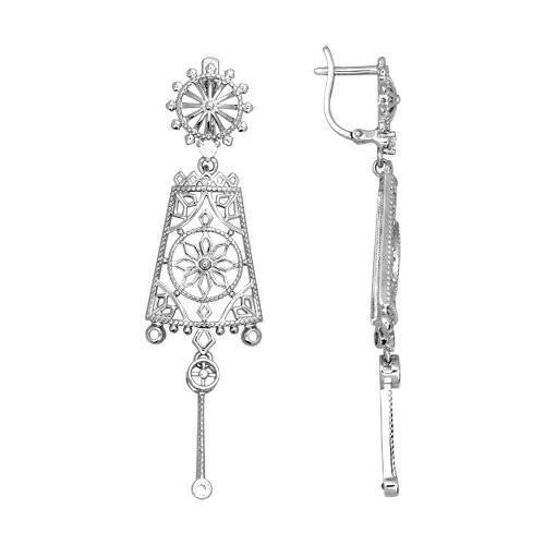 Paradis Love  Sterling Silver Chandelier Russian Style Earrings w/t CZ