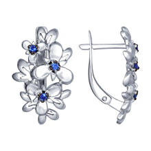 Paradis.Love Jewelry Sterling Silver Flower Earrings w/Blue Cubic Zirconia