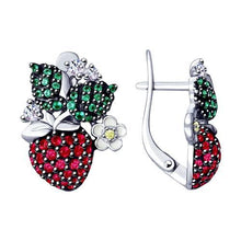 Paradis Love  Sterling Silver Strawberry Earrings .925 w/t Red and Green CZ Crystals