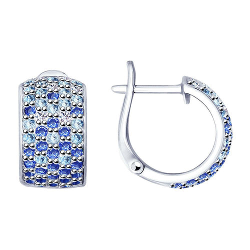 Paradis.Love Jewelry Sterling Silver Earrings .925 w/Blue Cubic Zirconia Crystals