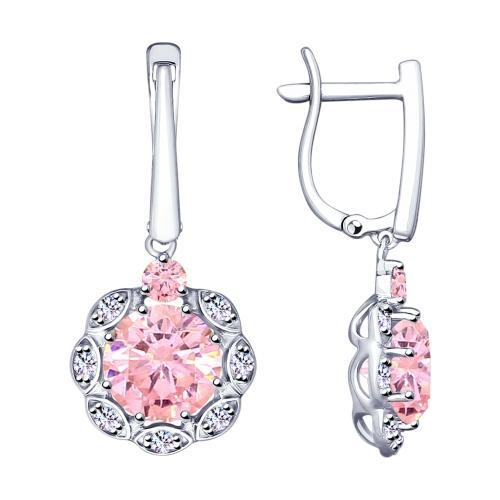 Paradis Love  Sterling Silver Amaryllis Drop Earrings w/t CZ in Soft Pink