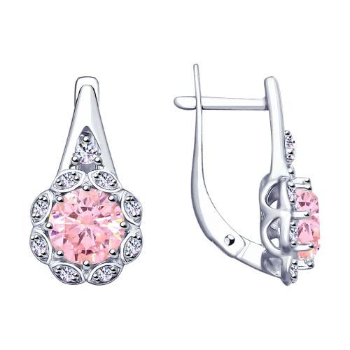Paradis Love  Sterling Silver Amaryllis Halo Earrings w/t CZ in Soft Pink