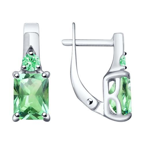 Paradis Love  Sterling Silver Forest Green Rectangular Hoop Earrings w/t CZ