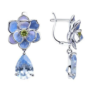 Paradis Love  Sterling Silver Flor Azul Dangle Earrings w/t Enamel and CZ