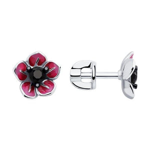 Paradis Love  Sterling Silver Flor Morada Earrings w/t Enamel and CZ
