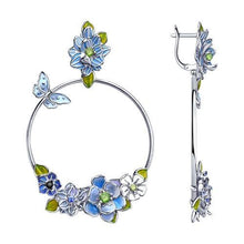 Paradis Love  Sterling Silver Flor Azul Hoop Earrings w/t Enamel and CZ