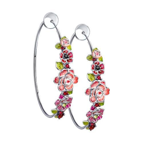 Paradis Love  Sterling Silver Flor Morada Hoop Earrings w/t Enamel and CZ