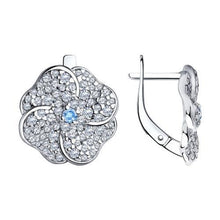 Paradis Love  Sterling Silver Forget-Me-Not 4 Petal Earrings w/t Azure and Clear CZ