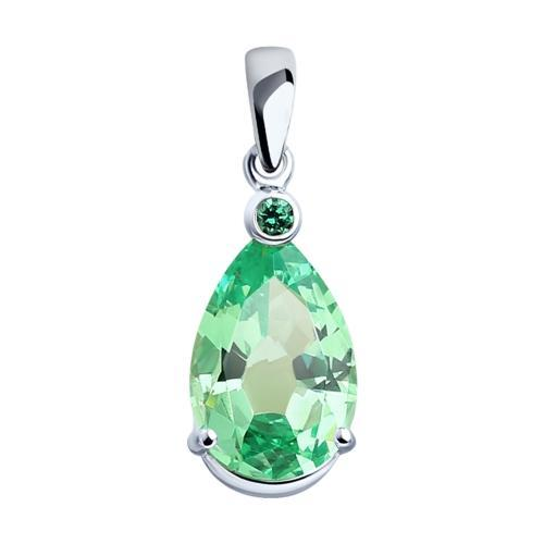 Paradis Love  Sterling Silver Forest Green Pear-Shaped Pendant w/t Cubic Zirconia Crystals