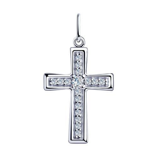 Paradis Love  925 Rhodium Plated Sterling Silver Cross Pendant w/Cubic Zirconia Crystals