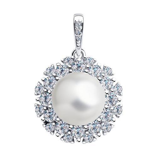 Paradis Love  925 Rhodium Plated Sterling Silver Mer D'Amour Pendant w/t Pearl and Cubic Zirconia