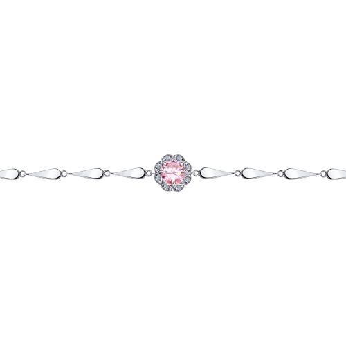 Paradis Love  925 Rhodium Plated Sterling Silver Amaryllis Bracelet with CZ