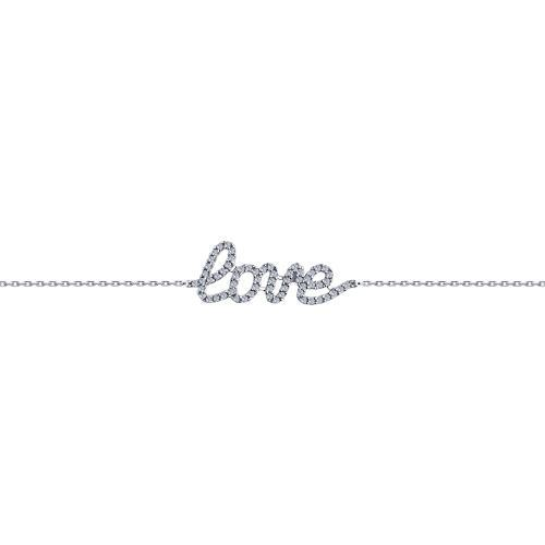 Paradis Love  925 Rhodium Plated Sterling Silver LOVE Bracelet with Cubic Zirconia