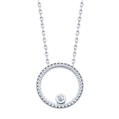 925 Rhodium Plated Sterling Silver Moon Necklace  w/Swarovski Crystals