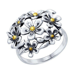 Paradis Love  925 Black Silver Daisy Ring