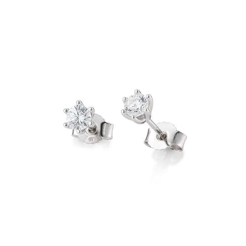 Paradis Love  0.10 ct h/si Diamond Solitaire Stud Earrings in 14K White Gold