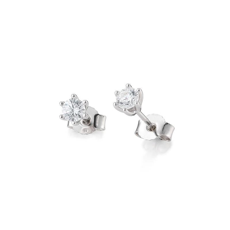 ct h si diamond solitaire stud earrings in 14k white. Black Bedroom Furniture Sets. Home Design Ideas