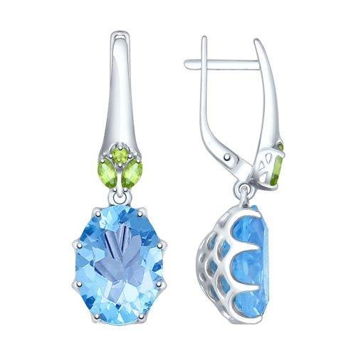 Paradis Love  Sterling Silver Empire Blue Drop Earrings w/t Sitall and Green CZ