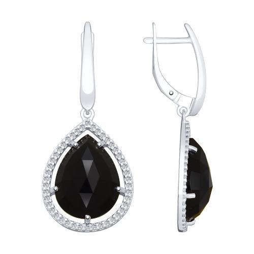 Paradis Love  Sterling Silver Black Dahlia Droplet Earrings w/t Agate and CZ