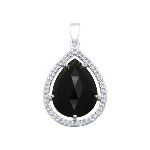 Paradis Love  925 Rhodium Plated Sterling Silver Black Dahlia Droplet Pendant w/Cubic Zirconia Crystals
