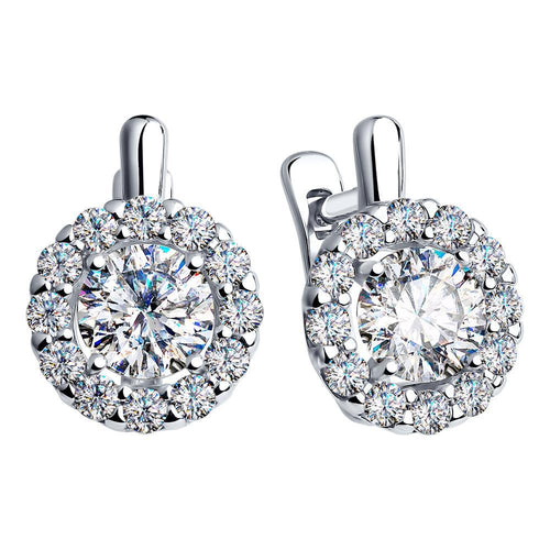 Paradis.Love Jewelry Sterling Silver Round Halo Earrings w/ Swarovski Crystals