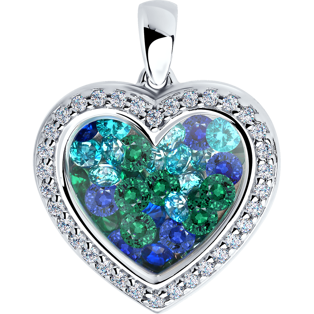 Paradis.Love Jewelry 925 Sterling Silver Rhodium Plated w/Blue Mint Cubic Zirconia Gems